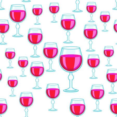 Seamless pattern of the random tall wineglasses