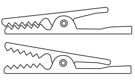 Ilustracja ikony elektryczne zaciski krokodylowe