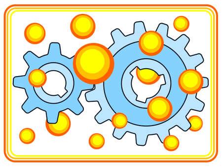 Illustration of the gear wheel pair and oil drops