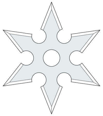 six objects: Illustration of the cold steel shuriken icon Illustration