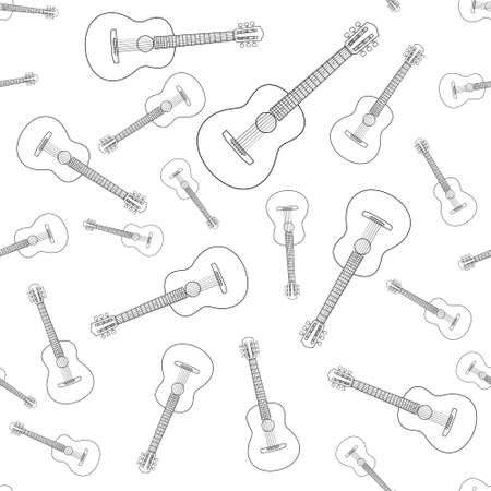 Seamless pattern of the contour acoustic guitars