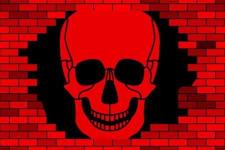 Illustration of the abstract broken brick wall and skull Illustration