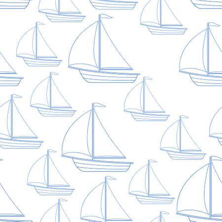 Seamless pattern of the random sailing boats