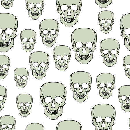 Seamless pattern of the abstract cartoon skulls