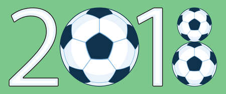 Illustration of the 2018 soccer ball lettering