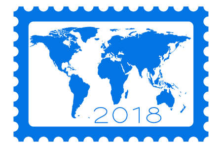 Illustration of the 2018 lettering on postage stamp and world map.