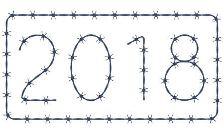 Illustration of the 2018 barbed wire lettering Stock Vector - 91501686