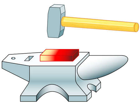 Illustration of the anvil and sledge hammer tools
