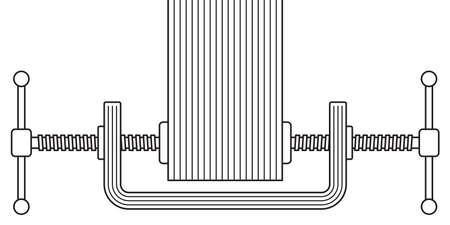Illustration der doppelten Einstellung Klemmen Werkzeugsymbol