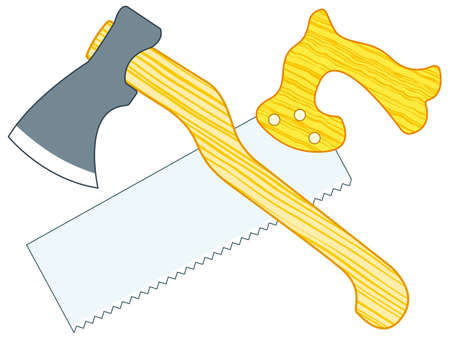 Illustration of the ax and hand saw tools