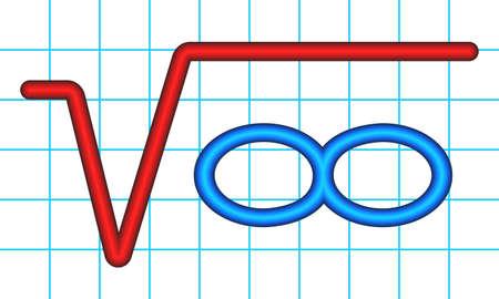 Illustration of the abstract math symbols. Root of infinity Иллюстрация