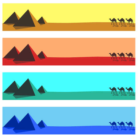 Banner set with camels and pyramids