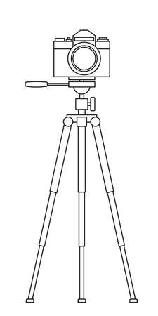 Illustration of the photographic camera and tripod stand  イラスト・ベクター素材