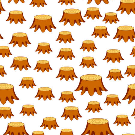 Seamless pattern of the tree felling stumps 일러스트