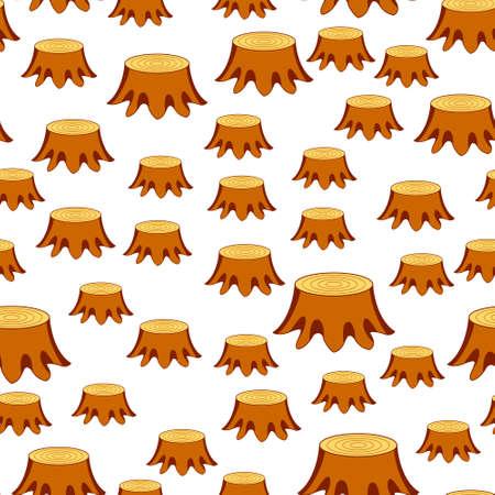 Seamless pattern of the tree felling stumps Illustration