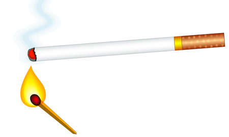 Illustration of the smoking cigarette and burning match