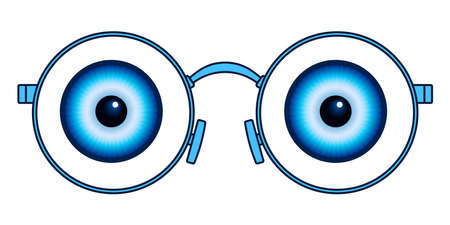Illustration of the abstract eyes and eyeglasses
