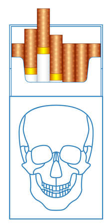 Illustration of the cigarette pack and skull