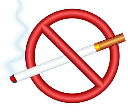 Illustration of the smoking cigarette and ban sign Illustration