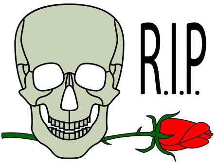 Illustration of the abstract cartoon skull and rose