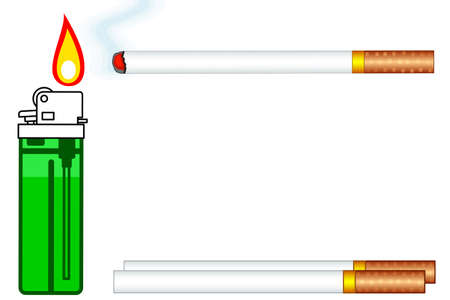 Illustration of the cigarettes and gas lighter