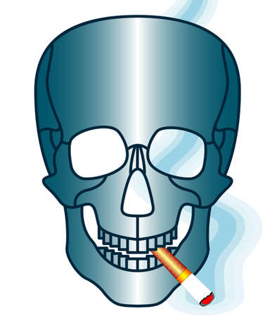 Illustration of the cartoon skull and smoking cigarette