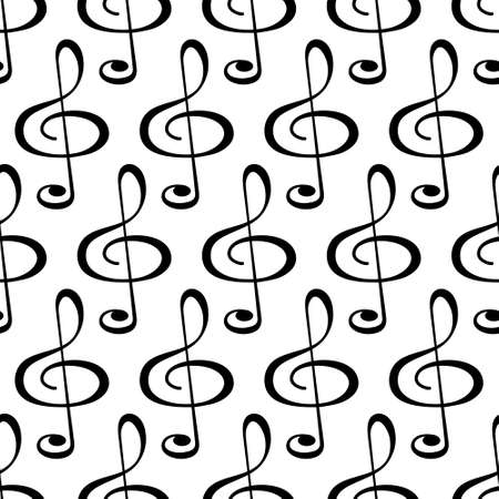 Seamless pattern of the treble clef symbols Illustration