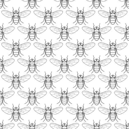 Seamless pattern of the contour fly insects  Illustration