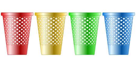 Illustration of the recycle bin set Vettoriali