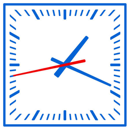 Illustration of the square clock icon. Arrows can be freely rotated Иллюстрация