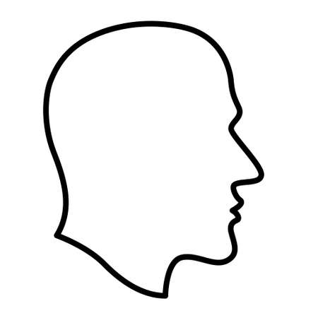 Abstract contour human profile head on silhouette black with white background illustration. 向量圖像