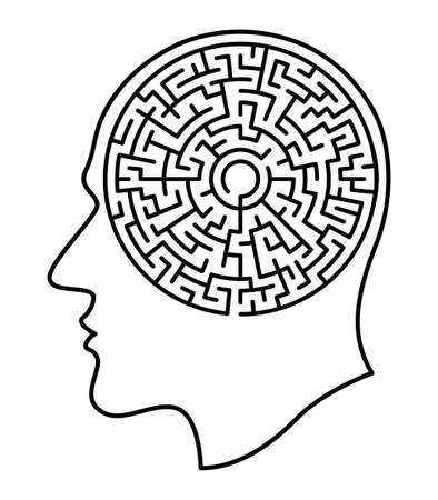 Illustration of the abstract contour human head and round maze