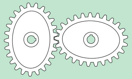 Illustration of the elliptical gear transmission Иллюстрация