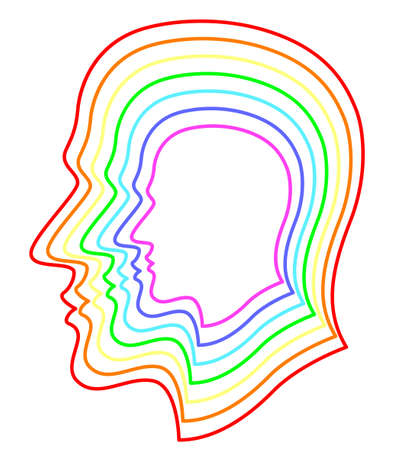 Illustration of the abstract color contour layer human profile head