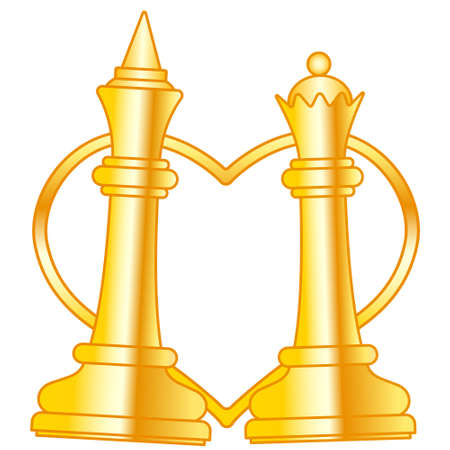 Illustration of the abstract gold chess king and queen pieces