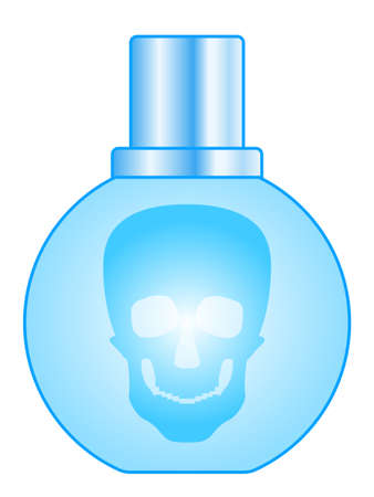Illustration of the small perfume bottle with skull inside