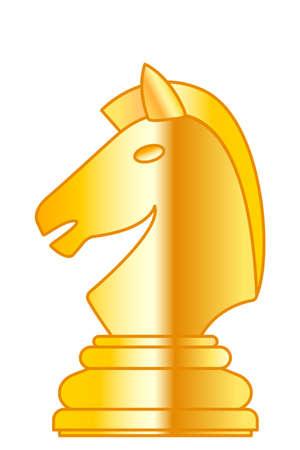 Illustration der abstrakten goldenen Schachritterfigur