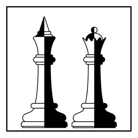 Illustration of the abstract chess king and queen