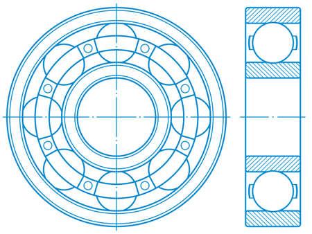 Ilustración del diseño del rodamiento de bolas de contorno