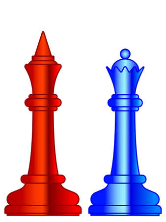 Illustration of the abstract chess king and queen pieces 向量圖像