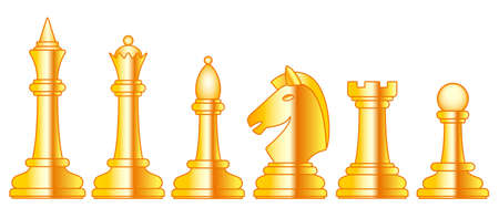 Illustration of the abstract gold chess pieces set