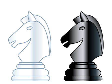 Illustration of the abstract chess knight pieces