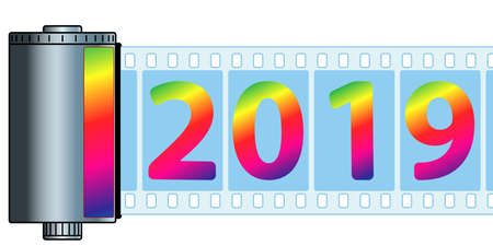 Illustration of the vintage cassette film and 2019 New Year numeration