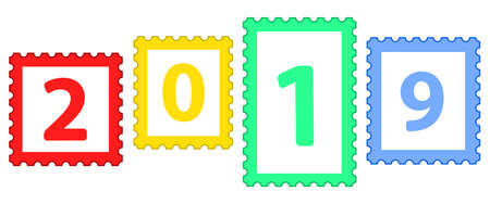 Illustration of the 2019 abstract postage stamp set lettering