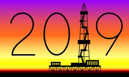 Illustration of the oil derrick and 2019 lettering Illustration