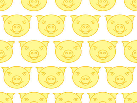 Seamless pattern of the cartoon contour pig heads