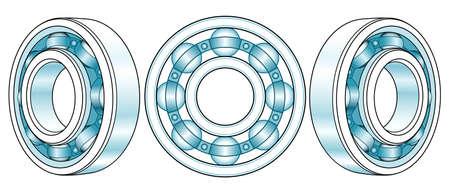 Illustration of the ball bearing view set Vektoros illusztráció