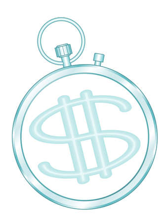 Illustration of the concept dollar money symbol and stopwatch