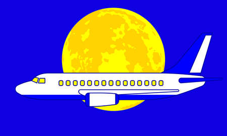 Illustration of the aeroplane on full moon background
