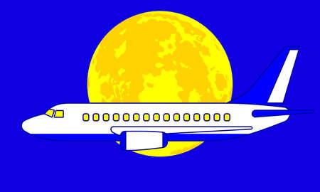 Illustration of the aeroplane on full moon background Illustration